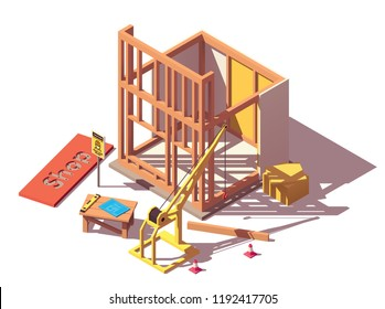Vector isometric new shop or store building construction process icon