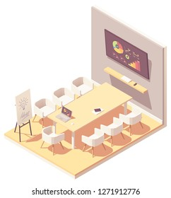 Vector isometric office conference or meeting room interior. Big desk, chairs, tv screen showing presentation charts, laptop