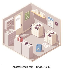 Vector isometric office copy room with two photocopiers or copy machines, filing cabinet for documents, folders with papers and trash can for unwanted copies