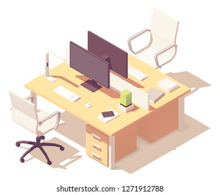 Vector isometric office desk. Wooden desk with two workplaces, desktop monitors, office chairs, lamp, other office equipment and stationery
