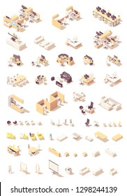 Vector isometric office furniture. Workplaces, desks and tables, cubicles, computers, chairs and stationery