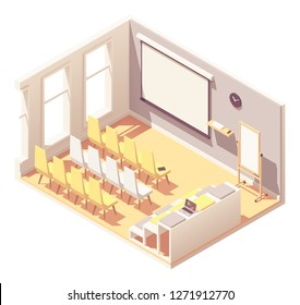 Vector isometric office presentation room interior. Rows of chairs and seats, projector screen, laptop, flip chart board