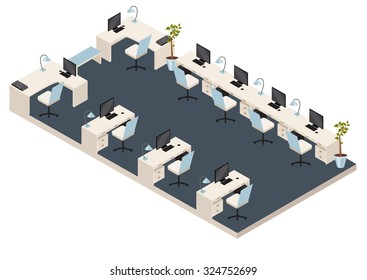 vector isometric office room with furniture