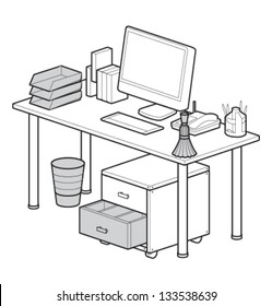 Vector Isometric Office Table