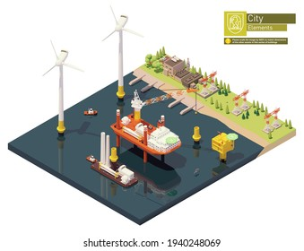 Vector isometric offshore wind farm and power plant construction. Includes turbine installation vessel with crane and barge loaded with wind turbine parts, transformer station, power station