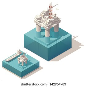 Vector isometric oil rig with tank ship on the sea water surface