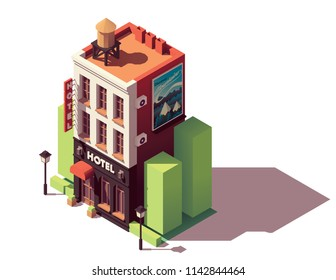 Vector isometric old hotel building with neon sign and travel related advertising on the billboard