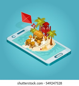 Vector isometric online ticket booking scene. Infographic element. Detailed colored island and mobile phone composition