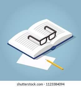 Vector isometric open book illustration. Open book with reading glasses, paper and pencil. Academic education symbol learning, reading, school, knowledge science university library sign.