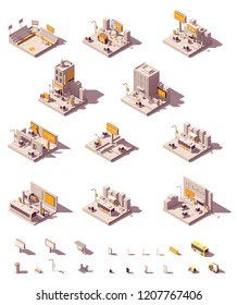 Vector isometric outdoor advertising icon set showing different advertising media - billboard and citylight on the streets, buildings, roads, in subway station, stadium banners, signage, other media