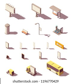 Vector isometric outdoor advertising media set includes frontlight billboard, backlight billboard, citylight, banners, bus shelter, advertising column, signage, street furniture and transport