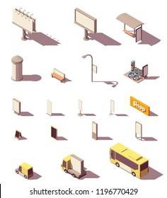 Vector isometric outdoor advertising media set includes frontlight billboard, backlight billboard, citylight, banners, bus shelter, advertising column, signage, street furniture and transport