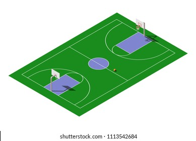 Vector isometric outdoor public basketball court with ball