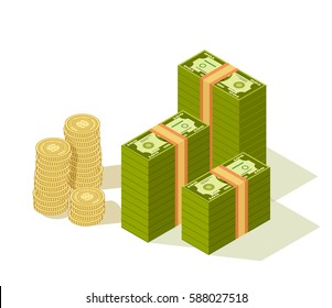 Vector Isometric packages of banknotes with stack of golden coins isolated on white.Hundreds of dollars in flat cartoon style