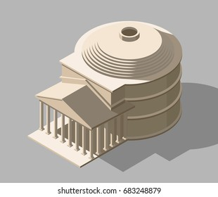 Vector isometric Pantheon illustration. Ancient Rome building icon. Gaming and infographic design.