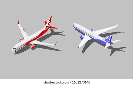 Vector isometric passenger jet in two different color scheme.