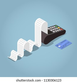 Vector isometric payment terminal concept illustration. Credit card machine printing large receipt with ceding card laying nearby.