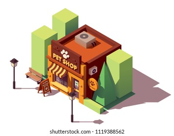 Vector isometric pet store with signboard and awning
