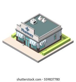Vector isometric pharmacy. Isolated on white background. Infographic element
