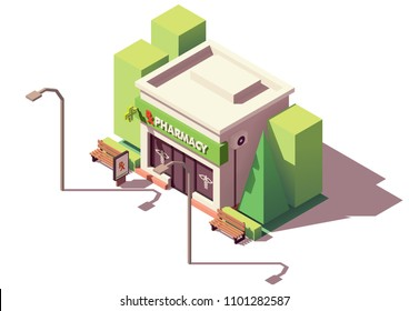 Vector isometric pharmacy store or drugstore building with neon sign