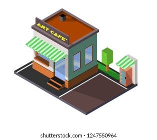 Vector isometric pizzeria building with signboard, art cafe, 3d flat design, Isometric High Quality City Street Urban Building, Vector isometric icon or infographic elements representing low poly town