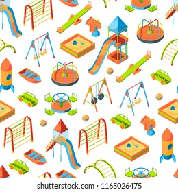 Vector isometric playground objects background or pattern illustration. Swing outdoor, recreation carousel
