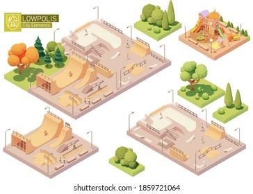 Vektorisometrischer Spielplatz und Skatepark. Moderner, bunter Kinderspielplatz aus Holz. Skatepark aus Beton und Holz zum Skateboarden. Bauelemente für die Isometrie von Stadt- oder Stadtplan