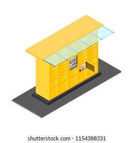 Vector isometric post automat illustration. Postomat branded self-service boxes. Modern technology delivery service machine. Automation service software office. Commerce sign