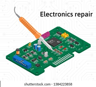Vector isometric printed circuit board with soldering iron. Electronics repair.