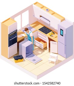 Vector isometric professional service worker or technician repairing dishwasher in the kitchen. Handyman installing integrated dishwasher and other kitchen appliances