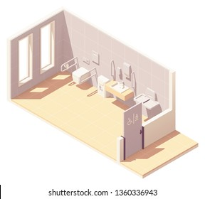 Vector isometric public accessible toilet with baby changing station