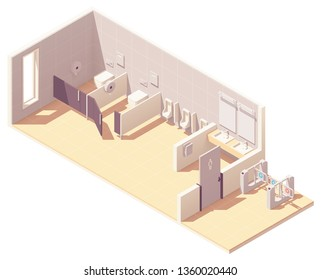 Vector isometric public male toilet room with coin operated turnstile. Bowls in cubicles, urinals, sinks with mirrors and hand dryer