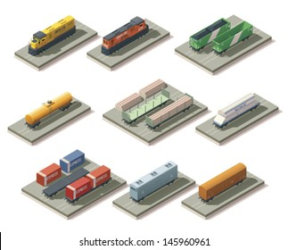 Vector isometric railroad cargo trains and cars icon set