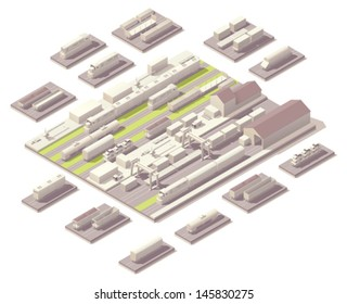Vector isometric railroad yard. Includes depot or train station, variety of trains and cargo cars