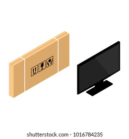 Vector isometric realistic TV screen and cardboard box. Modern stylish lcd panel, led type. Large computer monitor display mockup. Blank television template.