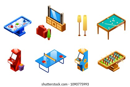 Vector isometric recreation room entertainments and amusements set. Table tennis or ping-pong, foosball and air hockey, TV set with armchair, two slot machines and snooker table with cue, floor lamps