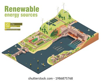 Vector isometric renewable electricity generation. Wind farm, hydroelectric and tidal power stations, geothermal and solar or photovoltaic power plants