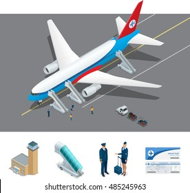 Vector Isometric representing airport, jet airplane, ground support vehicles and equipment. Aircraft runway airline pilot stewardess, airport-terminal, baggage, international airlines