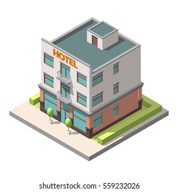 Vector isometric representing hotel or hostel. Isolated on white background. Infographic element