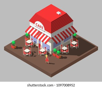 Vector isometric restaurant cafe building with tables and chairs