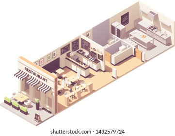 Vector isometric restaurant or cafe interior cross-section. Outdoor table under awnings, indoor hall with seats and counter, restaurant kitchen, blackboard wall menu