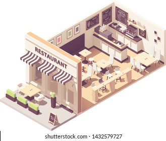 Vector isometric restaurant or cafe interior cross-section. Outdoor table under awnings, indoor hall with seats and counter, blackboard wall menu