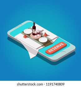 Vector isometric restaurant online booking concept. Smartphone with served table. Red wine bottle, tray, glasses, plates and napkins.