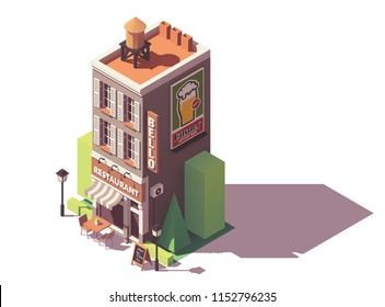 Vector isometric retro restaurant building with signboard, awning and outdoor tables