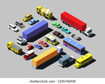 Vector isometric road cars, trucks and other vehicles.