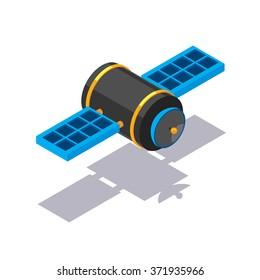 Vector isometric satellite icon