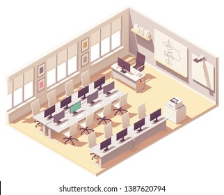 Vector isometric school computer lab or laboratory classroom interior cross-section. Desks with computers, chairs, chalkboard