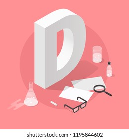 Vector isometric school grade illustration. Big letter grade D with glasses, papers, test-tubes, magnifier and chalk. Failure exam results concept.