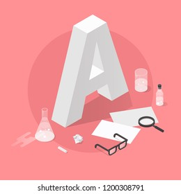 Vector isometric school grade illustration. Big letter grade A with glasses, papers, test-tubes, magnifier and chalk. Exam results concept.