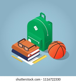 Vector isometric school homework concept illustration. Layout of schoolkid stuff, such as backpack, books, ball and stationery. Highly detailed.